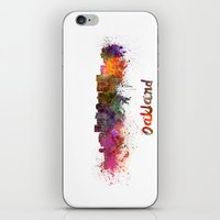 oakland iPhone & iPod Skins featuring Oakland skyline in watercolor by Paulrommer