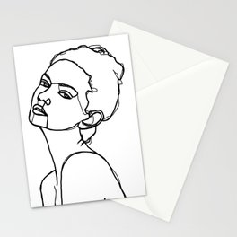 Women face one line drawing - Adel Stationery Cards