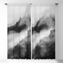 Foggy Mountains Black and White Blackout Curtain