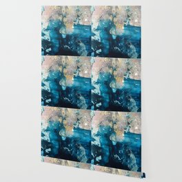 Timeless: A gorgeous, abstract mixed media piece in blue, pink, and gold by Alyssa Hamilton Art Wallpaper