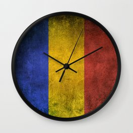 Old and Worn Distressed Vintage Flag of Romania Wall Clock