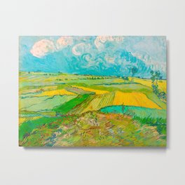 Wheat Fields after the Rain (The Plain of Auvers), July 1890 Oil Painting by Vincent van Gogh Metal Print