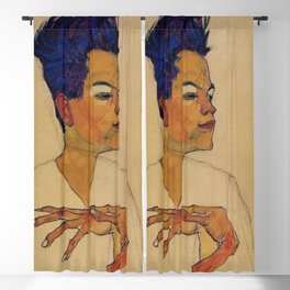 SELF PORTRAIT WITH HANDS ON CHEST - EGON SCHIELE Blackout Curtain