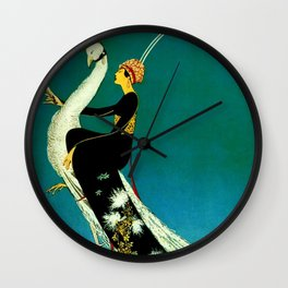 Vintage 1920's Jazz Age Flapper with White Peacock Poster Wall Clock