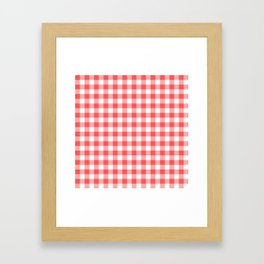 gingham red pattern Framed Art Print