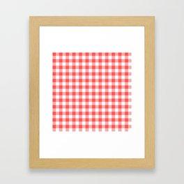 gingham red pattern Framed Art Print