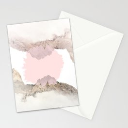 Pale Pink on Mountains Stationery Cards