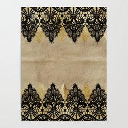 Elegance- Ornament black and gold lace on grunge paper backround Poster