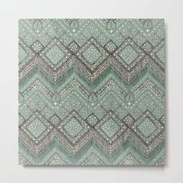 beaded chevron mint Metal Print