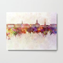 Harvard skyline in watercolor background Metal Print