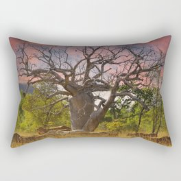 Mustering past the Boab and sunset Rectangular Pillow