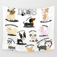dogs Wall Tapestries featuring Dogs by comodo777