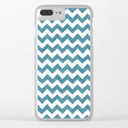 Christmas Blue Chevron Clear iPhone Case