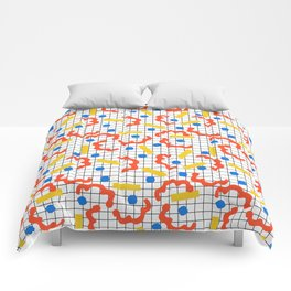 Primal - memphis throwback squiggle circle geometric grid lines dots trendy hipster 80s retro cool Comforters