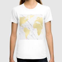 World Map Marble Gold Rush T-shirt