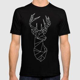 Geometric Stag (White on Slate) T-shirt