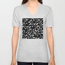 Contemporary Graphic Art Design Leaves Pattern Unisex V-Neck