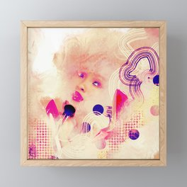 Fashion Woman - Abstract Collage- Pink and Gold Colour Framed Mini Art Print