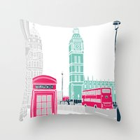 london Throw Pillows featuring London  by bluebutton studio