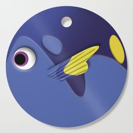 Blue ornamental fish cartoons Cutting Board