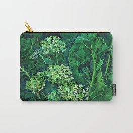 Hydrangea and Horseradish, black and green Carry-All Pouch
