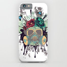 Green Gas Mask with Roses iPhone Case