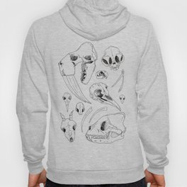Black and White Hand Drawn Animal Skulls Print Hoody
