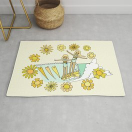 surfs up little ones // retro surf art by surfy birdy Rug