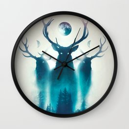 Deer Painting | Antlers | Forest | Moon | Occult | Vintage | Pine Trees Wall Clock