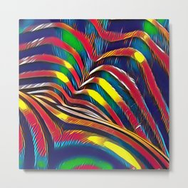 2602s-AK Nude Body Back Striped Abstraction Bright Color Pastel by Chris Maher Metal Print