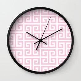 Large Light Pink and White Greek Key Pattern Wall Clock