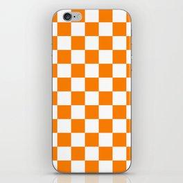 Checkered - White and Orange iPhone Skin
