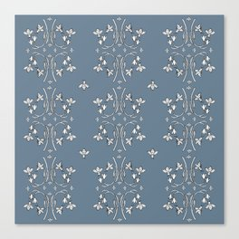 Bees and flowers pattern blue Canvas Print