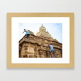 Temple Cleaning Framed Art Print