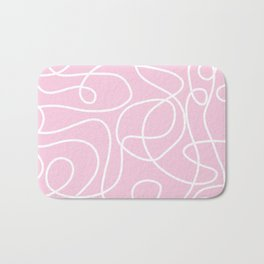 Doodle Line Art | White Lines on Baby Pink Bath Mat