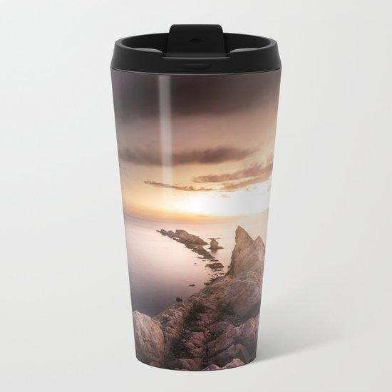 Sunset Coast, Waves and Rocks Metal Travel Mug