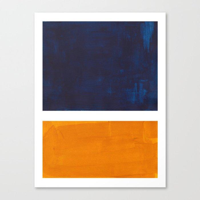 Navy Blue Yellow Ochre Abstract Minimalist Rothko Colorful Mid Century Color Block Pattern Leinwanddruck