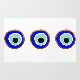 Grecian Gold evil eye in blue on white Rug