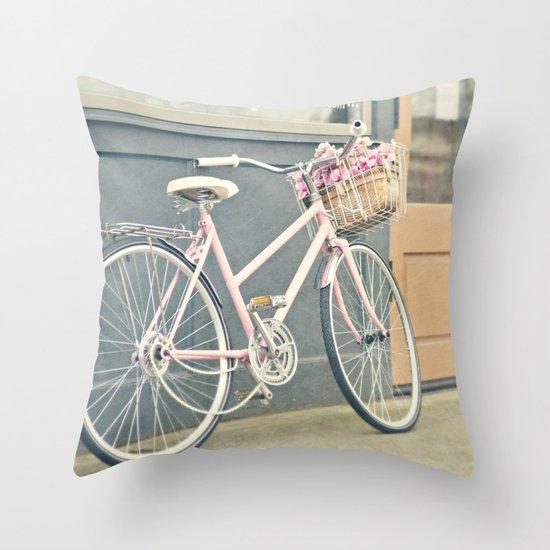 Pink bicycle Throw Pillow
