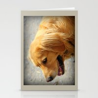 golden retriever Stationery Cards featuring Happy Golden Retriever  by MyLove4Art