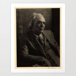 Doris Ulmann  (1882–1934), Elderly man in suit and bow tie, seated in large chair, looking down Art Print