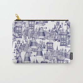 Doctor Who Toile de Jouy | 'Walking Doodle' | Blue Carry-All Pouch