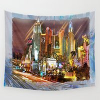 las vegas Wall Tapestries featuring Vegas by Robin Curtiss