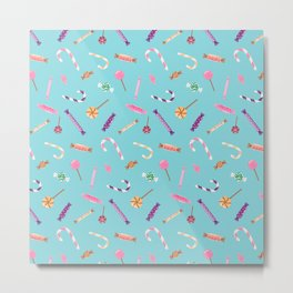 Candy colorful pattern on blue Metal Print