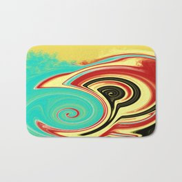 Red, Turquoise, and Black Swirls on Gold Bath Mat