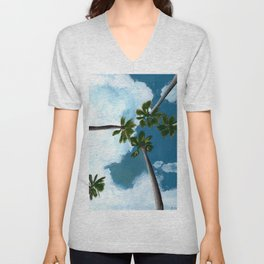 Tropical Palms in the Sky Gouache Painting Unisex V-Neck