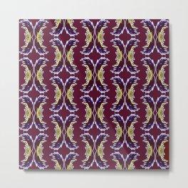 Yellow Burgundy Ornament Baroque Damask Pattern Metal Print