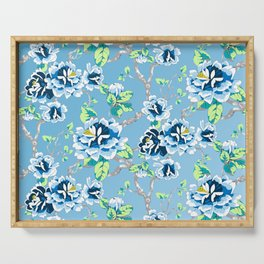 Chinoiserie Ming style Blue Floral Pattern Serving Tray