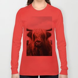 Scottish Highland Cattle in Scotland Portrait II Long Sleeve T-shirt