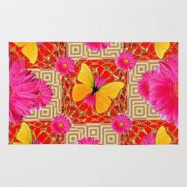 Red Art Design of Butterflies Fuchsia Gerbera Flower  Patterns Art Rug